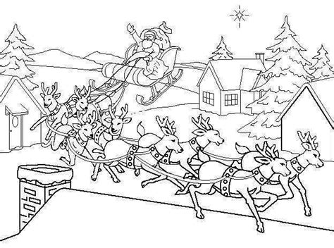printable coloring pages of santa with his reindeer coloring