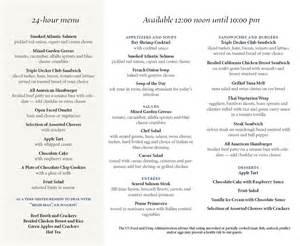 in room dining menu by association