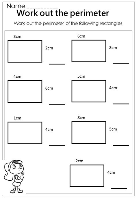 Free Printable Perimeter And Area Worksheets by Work Out The Rectangle Perimeter Worksheet