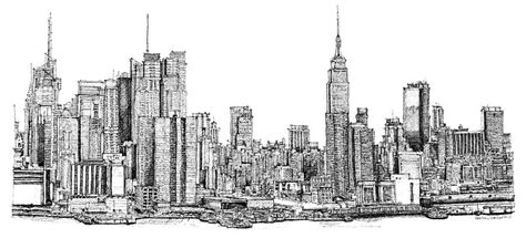 new york skyline as gift drawing by building art