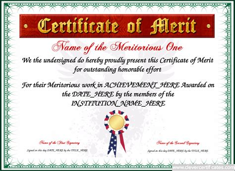 merit certificate template certificate of merit template