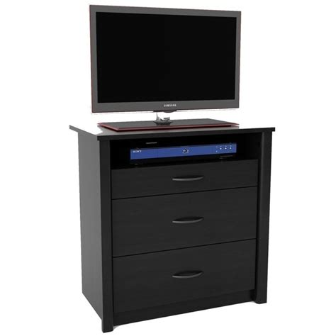black media chest with drawers 3 drawer media chest in black 5514026pcom