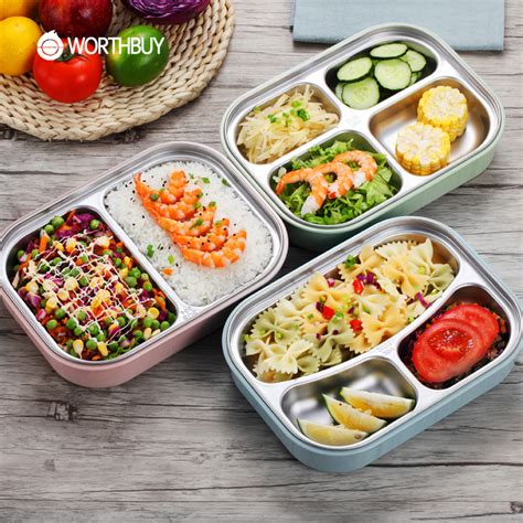 Box Bento Microwave 1 Wrna Promosi worthbuy 304 stainless steel japanese lunch boxs with compartments microwave bento box for