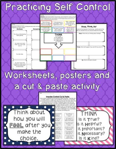 self control worksheets self control activities related keywords self control