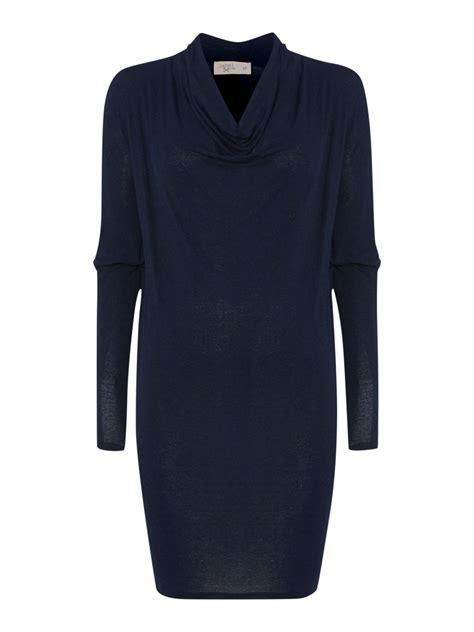 jersey knit dress label lab jersey knit cowl sleeve dress in blue lyst