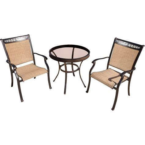 round glass bistro table set hanover fontana 3 piece aluminum outdoor bistro set with