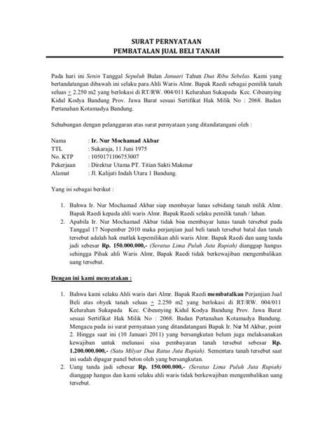 format pembuatan berita acara surat pernyataan pembatalan jual beli tanah alm bapak raedi