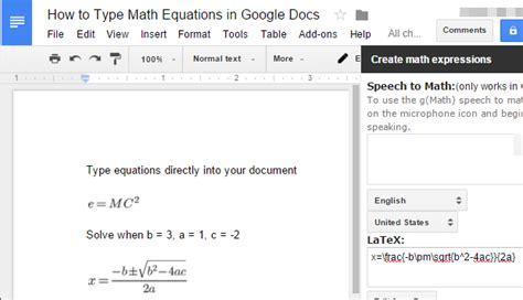 latex tutorial for mathematics how to use latex math equations in google docs