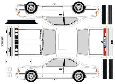 Papercraft Vehicles - papercraft bmw wb7 in white this is a 1982 alpina b7