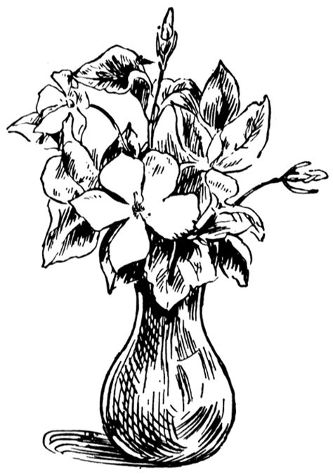 Vase Clipart Black And White by Vase Of Flowers Clipart Etc