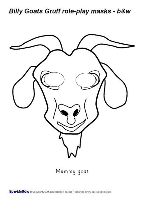 printable masks three billy goats gruff billy goats gruff role play masks black and white