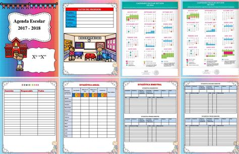 Calendario Word 2018 Maravillosa Agenda Para El Ciclo Escolar 2017 2018