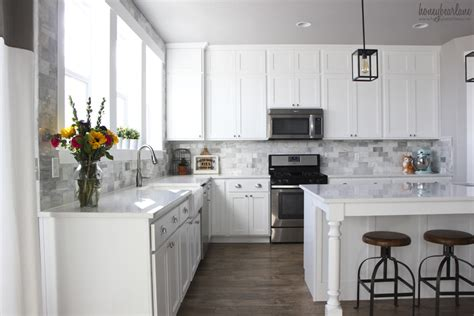 White Kitchen Backsplash Tiles by My Diy Marble Backsplash Honeybear Lane