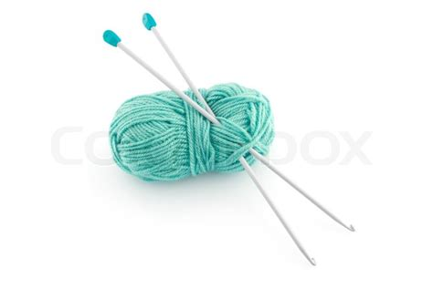 knitting needles images green knitting wool or yarn with silver knitting