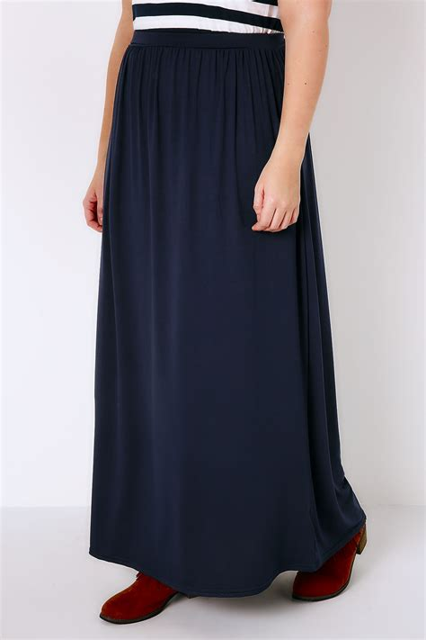 Maxi Jersey navy jersey maxi skirt plus size 16 to 36