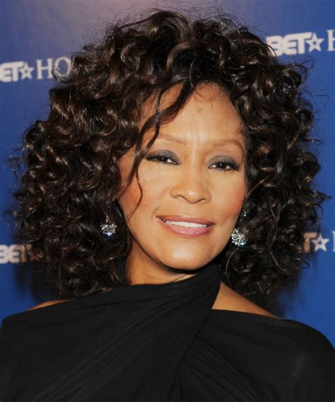 whitney houston hairstyles gallery whitney houston medium curly formal hairstyle black