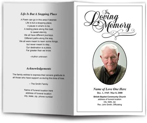 free memorial card templates for mac funeral programs and memorials funeral program templates