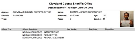 cleveland county desk blotter all big 12 oklahoma cb arrested on charges