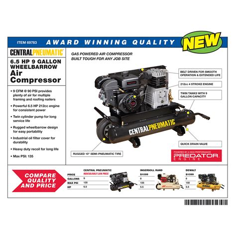 9 gal 212cc 135 psi wheelbarrow air compressor epa iii