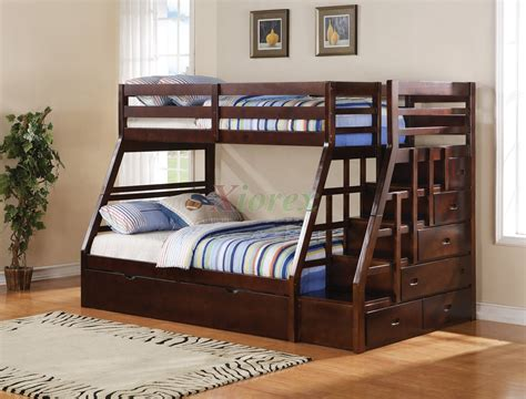 bunk beds stairs taurus twin full bunk bed with stairs and trundle in espresso xiorex