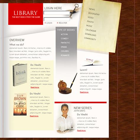 templates for library website online library website templates themes free premium