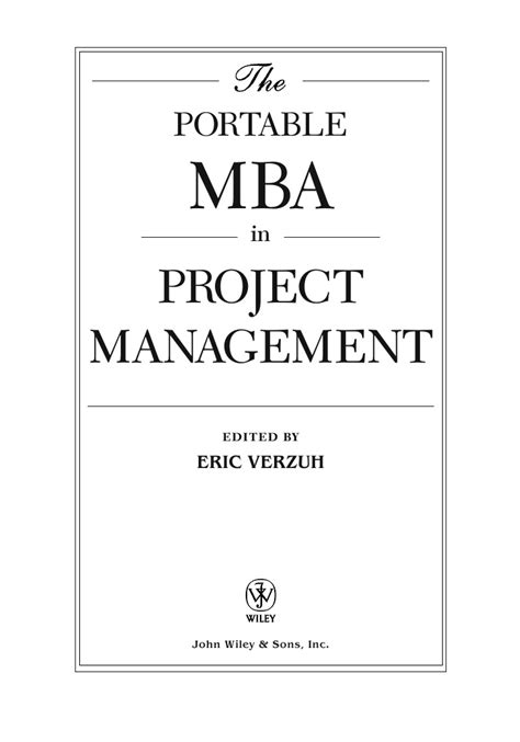 Mba In Project Management by The Portable Mba In Project Management