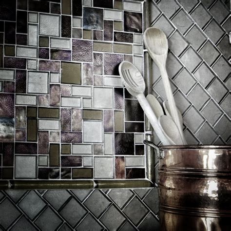iridescent glass tile backsplash eclectic kitchen