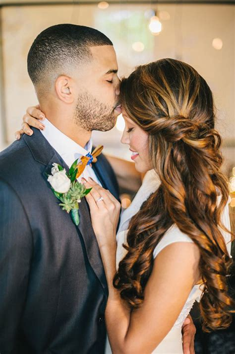 Modern Half Up Wedding Hairstyles by The 6 Month Wedding Plan Wedding Hairstyles The