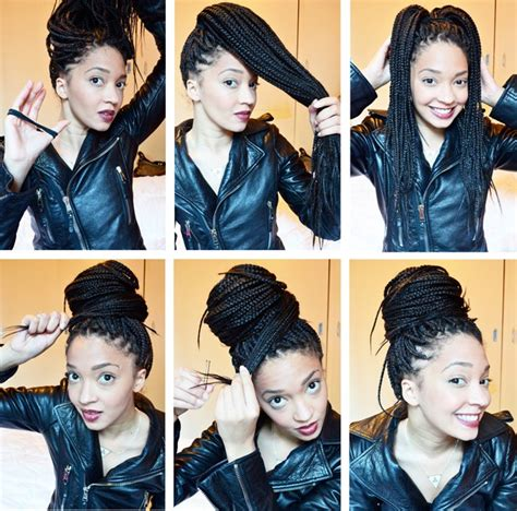 how to make a bun with my braids how to style box braids