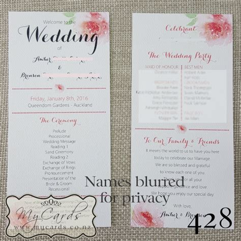 layout order of service wedding order of service wedding watercolour flower design 428