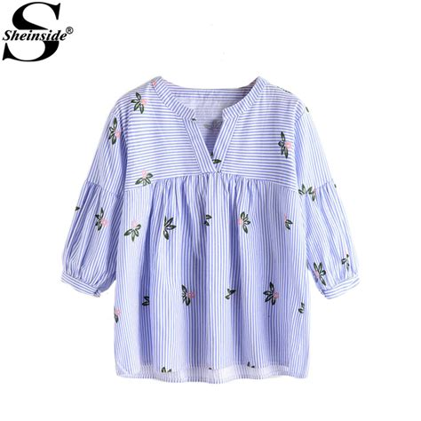 43038 Blue Stripe Flowers Blouse 1 sheinside tunic blouse 2017 blue stripe floral print casual smock summer tops fashion