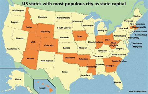 us maps capitals relative population ranking of us state capitals 183 zoom maps