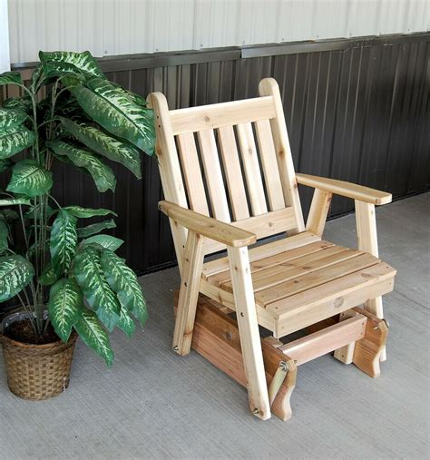 outdoor traditional english cedar glider chair unfinished