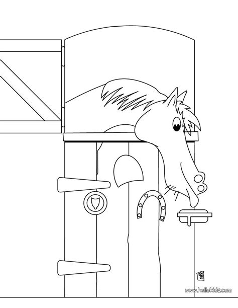 horse in the stable coloring pages hellokids com