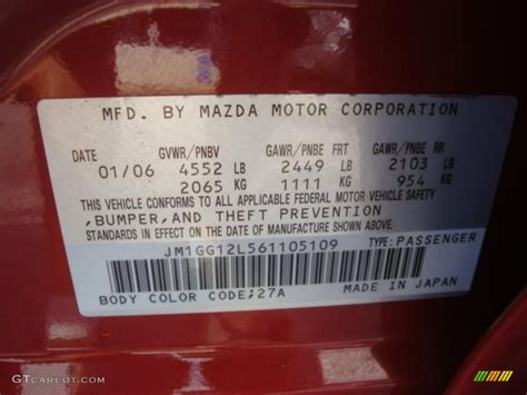 2006 mazda6 color code 27a for velocity mica photo 37932274 gtcarlot