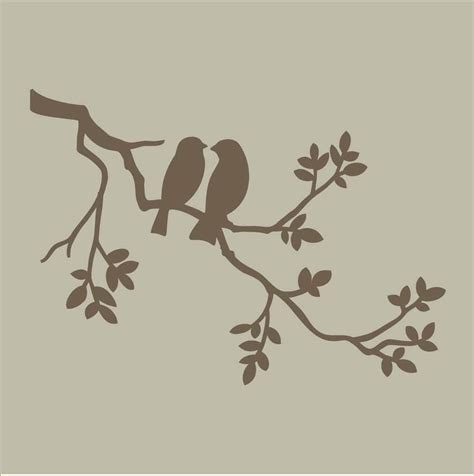 Stencils Two Birds On Branch Stencil Design By Superiorstencils 19 95 Patterns Templates Bird Design Templates