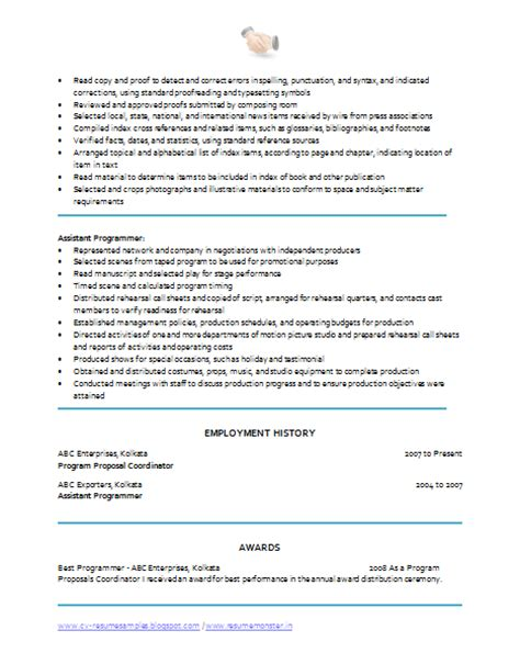 2 page resume sle 10000 cv and resume sles with free