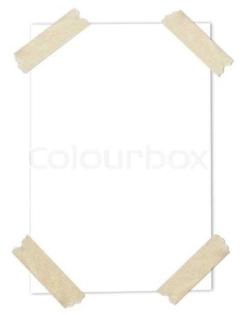 stuck kleben white blank paper stuck with brown stock photo
