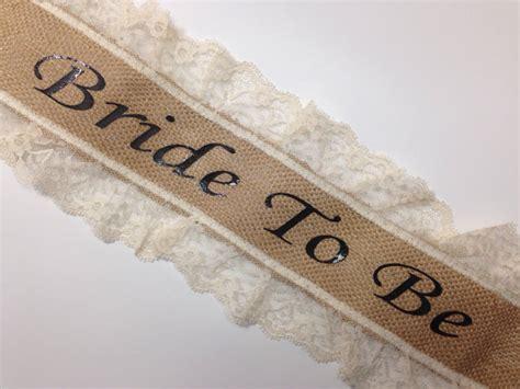 Bridal Shower Sash Selempang bachelorette sash bridal shower sash burlap lace