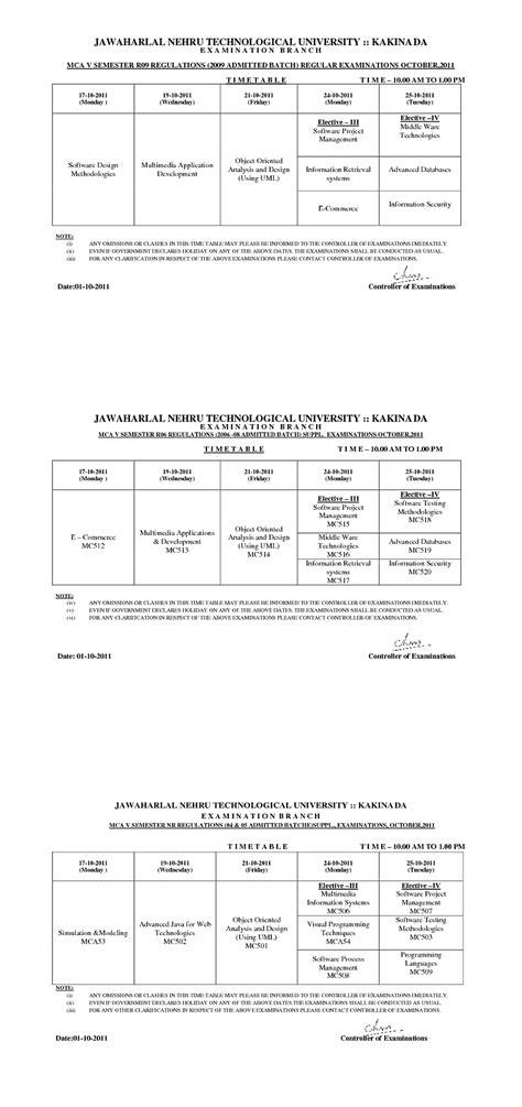 Mba Jntu Hyderabad Time Table by Jntu Kakinada Time Tables For Mca V Semester Regular