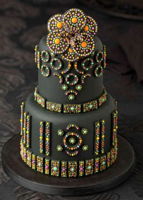 beaded cake 2 tier black cake with shiny and colorful jpg