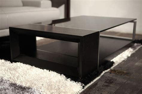 Contemporary Coffee Table With Black Glass Top El Monte Coffee Table Black Glass Top