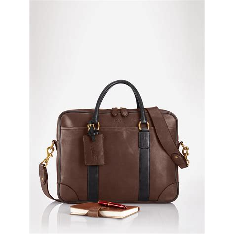 Adjustable Bag Polos 2 Tone polo ralph two tone leather briefcase in brown for lyst