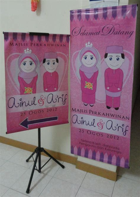 design banner pengantin thank you tags sticker kahwin bunting banner kad asmaul