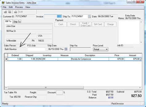 sle invoice for commission salesman commission ebms accounting software