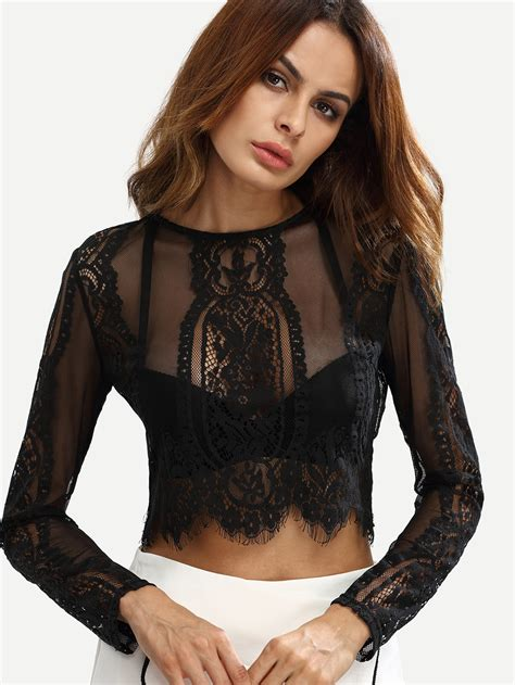 See Through Lace Blouse black lace see through crop blouse makemechic