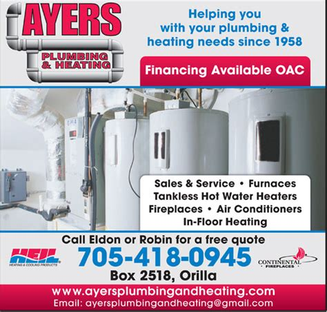 Plumbing Supplies Orillia by Ayers Plumbing Heating Po Box 2518 Stn Orillia On