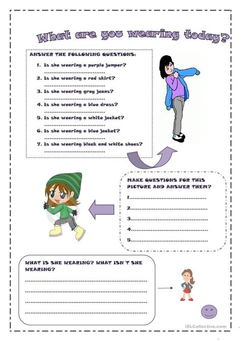 what color are you wearing what are you wearing today worksheet free esl printable