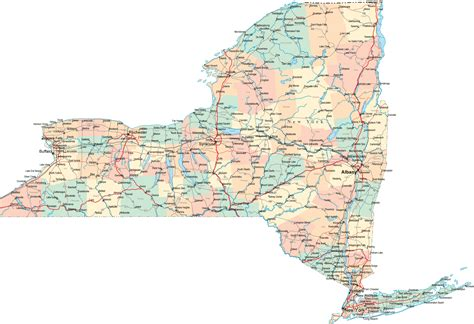 state map of new york large detailed road and administrative map of new york