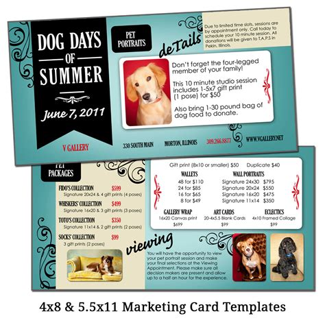 marketing card template 4x8 5 5x11 marketing card template pet picture sale